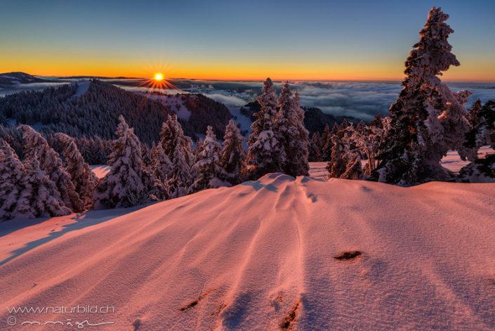Chasseron Winter Sonnenaufgang