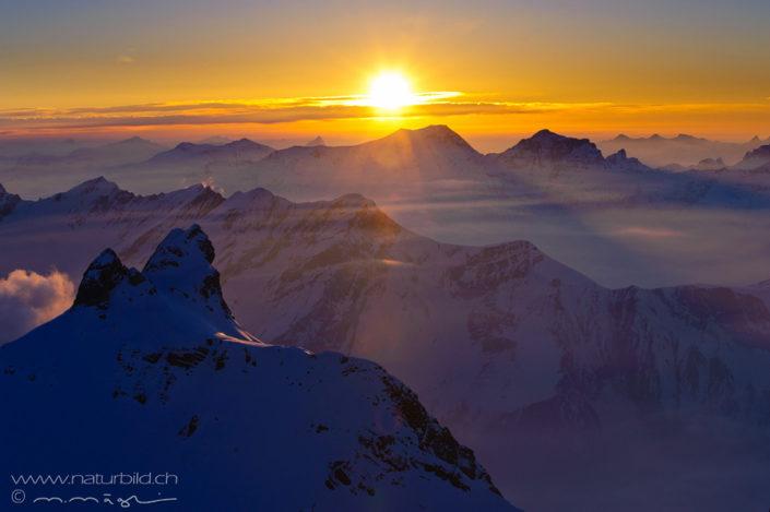 Alpen Gipfel Sonneuntergang