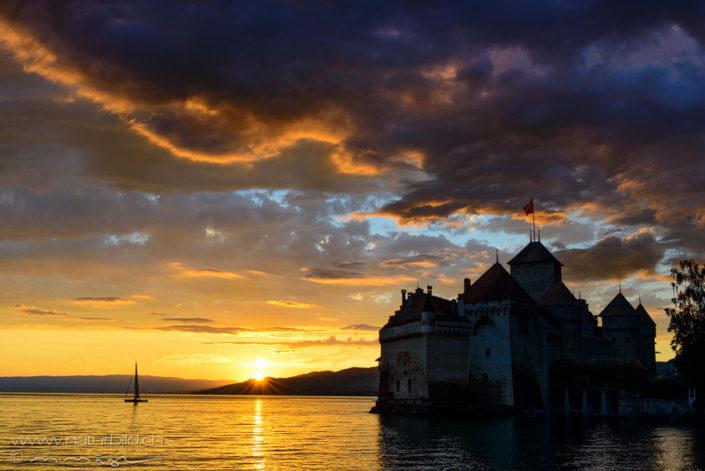 Genfersee Schloss Chillon Sonnenuntergang