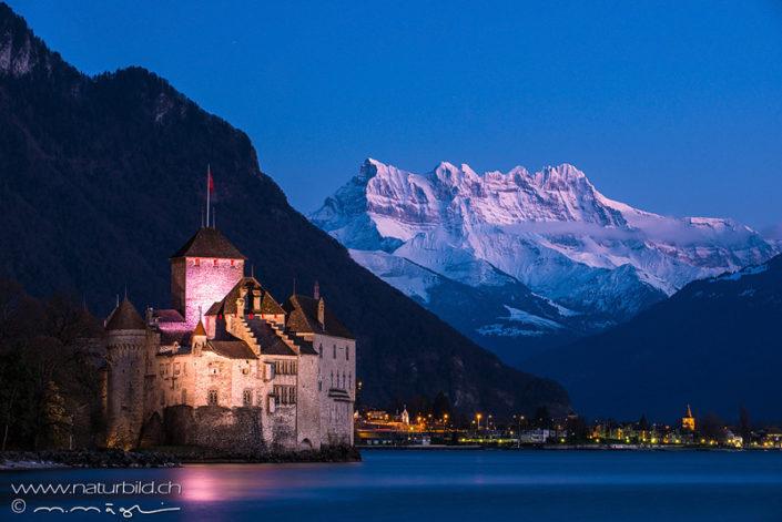 Schloss Chillon Nacht Berge