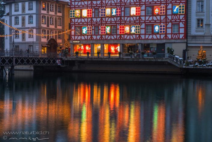 Luzern Stadt beleuchtet