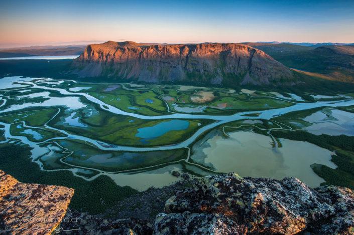 Sarek Nationalpark Flussdelta Dämmerung
