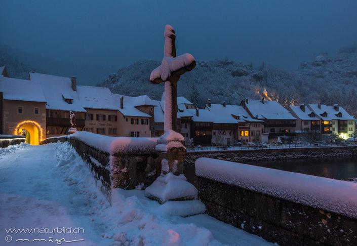 St Ursanne Schnee Jura