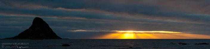Panorama Andoya Fels Meer Sonnenuntergang