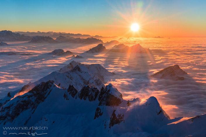 Schweiz Säntis Nebelmeer