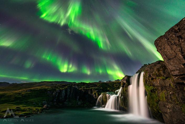 Island Polarlicht Wasserfall