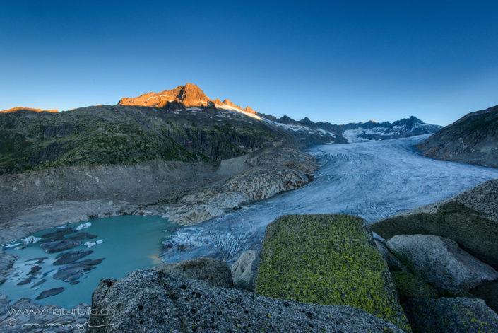 Furka Gletscherzunge rote Gipfel