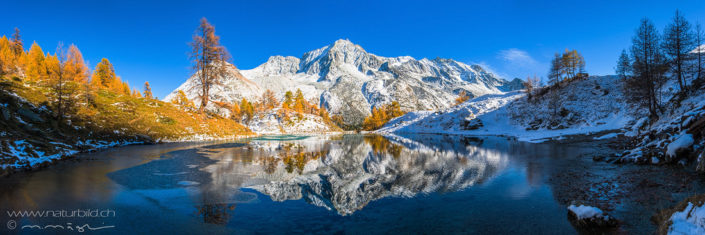 Panorama Bergsee Spiegelung Herbst