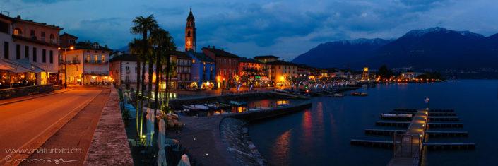 Panorama Ascona Seepromenade Nacht
