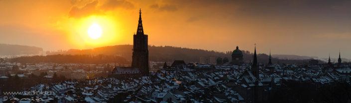 Stad Bern Muenster Sonnenuntergang