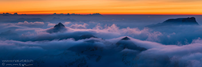 Panoramabild Nebelmeer Alpen
