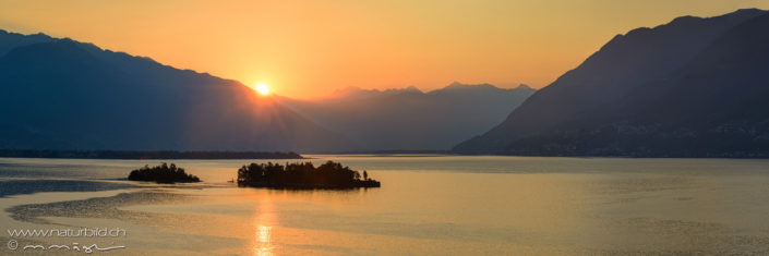 Panorama Brissago Inseln Sonnenuntergang