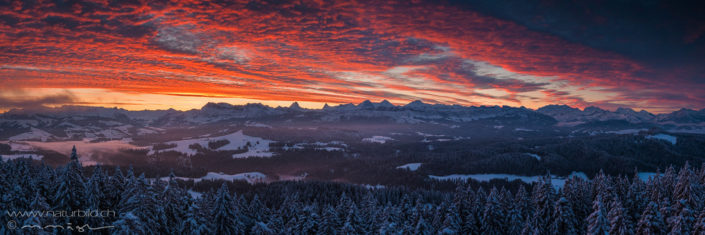 Panorama Emmental Winter Abendstimmung