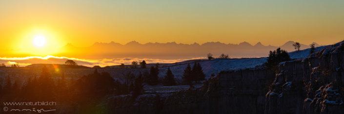 Panorama Creux du Van Sonnenuntergang