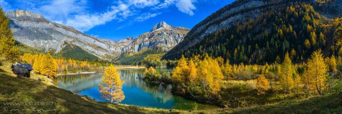 Panorama Derborence Bergsee Herbst