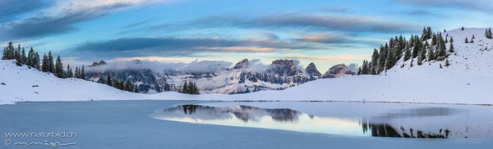 Panorama Flumserberge Winter Bergsee