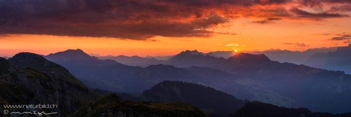 Panorama Sonnenuntergang Berge