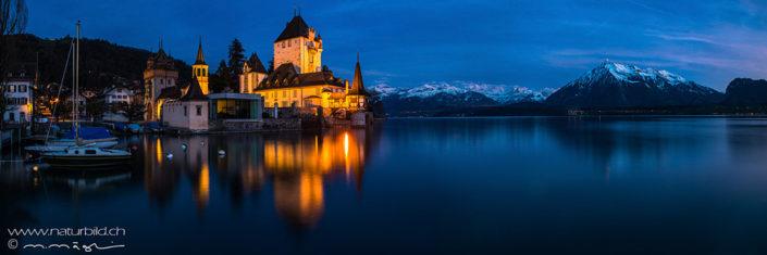 Panorama Schloss Oberhofen bei Nacht Niesen