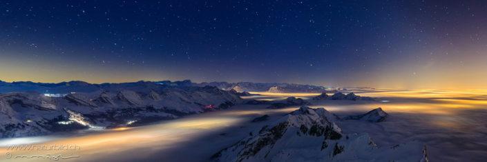 Panorama Saentis Sternenhimmel Lichter