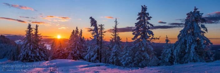 Panorama Sonnenuntergang Winterlandschaft