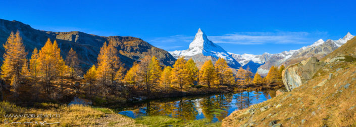 Panorama Matterhorn Bergsee Herbst