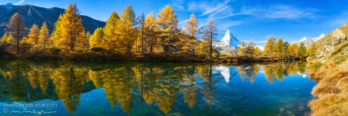 Panorama Bergsee Matterhorn Herbst