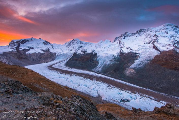 Zermatt Gletscher Abendrot
