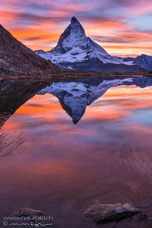 Matterhorn Abendrot Spiegelung