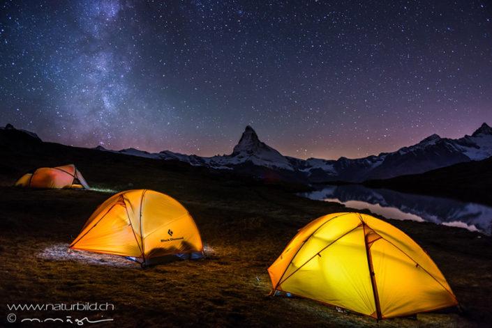 Matterhorn Zelt Nacht