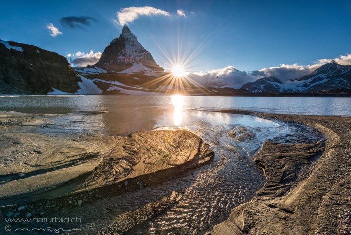 Matterhorn Sonne Bergsee